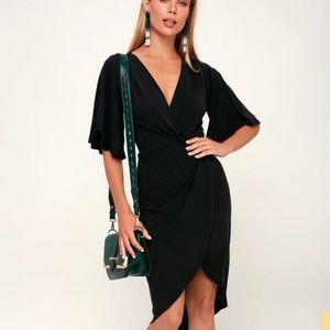 Lulus dulcet washed black surplice dress